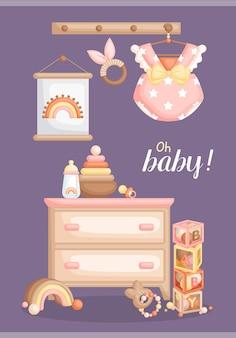 女の赤ちゃんボヘミアンアイテムとおもちゃカード