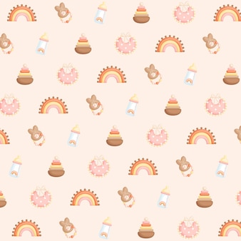 Baby girl boho items and toys background