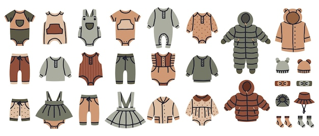 Baby girl and boy fashion clothes kids clothing vector nursery illustration set