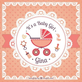 Baby girl card in doily style