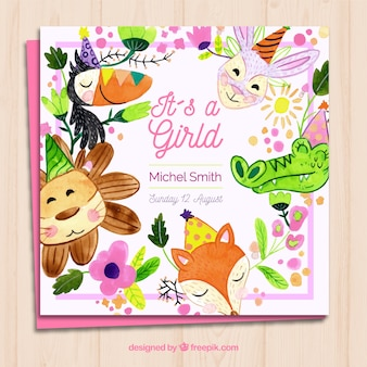 Baby girl card invitation with cute animals in watercolor style