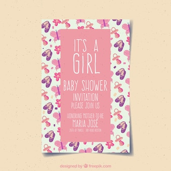 Baby girl card invitation with pink colour