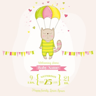 Девочка кошка летит с парашютом