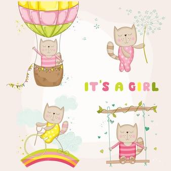 Девочка кошка набор для детского душа карты