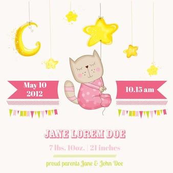 星の到着カードで眠っている女の赤ちゃん猫