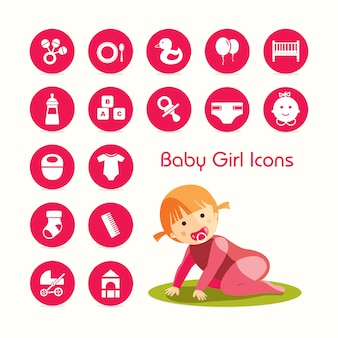 Baby girl crawling and icons set
