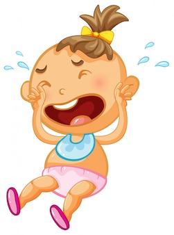 Baby girl crying on white background