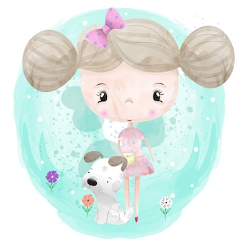 Baby girl and a cute dog character painted with watercolors vector premium