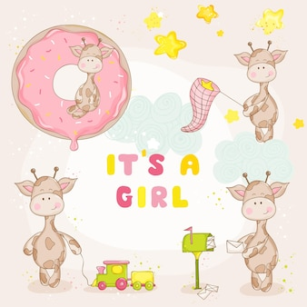Baby girl giraffe set - baby shower or arrival card - in