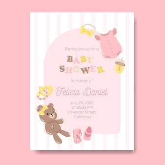 Baby girl invitation template for baby shower in pink color