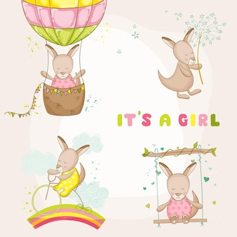 Baby girl kangaroo set - for baby shower or baby arrival cards - in