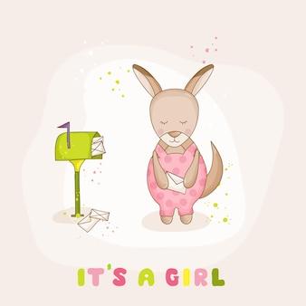 メール付きの女の赤ちゃんカンガルー-ベビーシャワーまたは入国カード