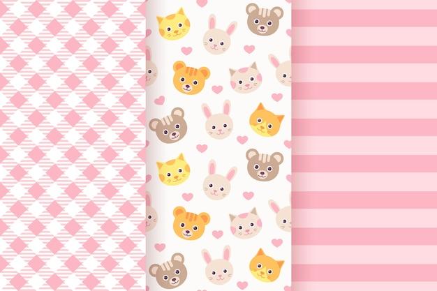 女の赤ちゃんのパターン。ベビーシャワーのシームレスなピンクのパターンセット Premiumベクター