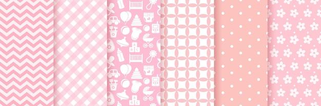 シームレスな赤ちゃんの女の子のパターン。ベビーシャワーの背景。 。招待状、招待状テンプレート、カード、誕生パーティー、フラットデザインのスクラップブックにピンクのパステルパターンを設定します。かわいいイラスト。