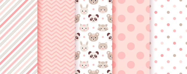 Baby girl pattern. seamless backgrounds. pink kids textures set of cute textile prints. pastel scrapbook backdrop