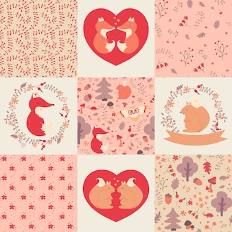 Baby girl patterns and illustrations. collection.