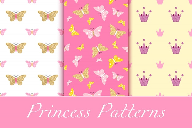 Baby girl patterns with glittering crowns and butterflies
