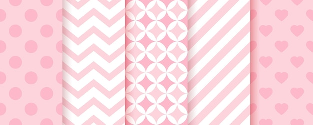 Baby girl seamless pattern. pink backgrounds. pastel geometric prints. set of kids textures. vector