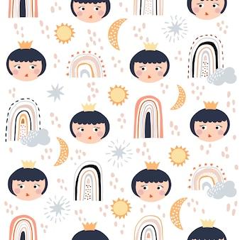 무지개와 공주 아기 소녀 완벽 한 패턴