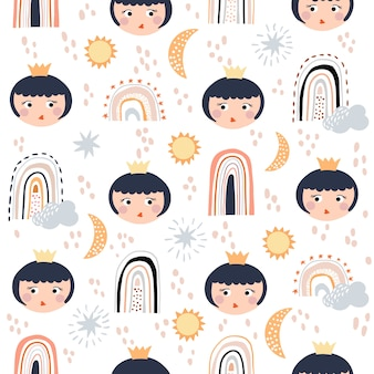 Baby girl seamless pattern with rainbows and princess