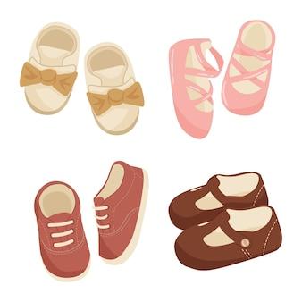 여자 아기 신발 세트