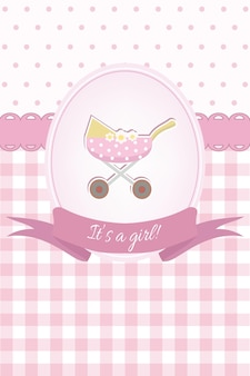 Baby girl shower or arrival card with a pram flat design