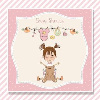 Детская открытка с маленькой девочкой и ее плюшевым мишкой