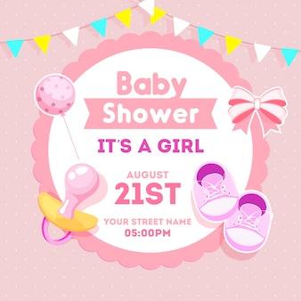 Baby girl shower invitation card design with sticker style bow r