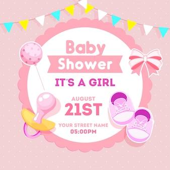 ステッカースタイルの弓rと女の赤ちゃんシャワーの招待状カードデザイン