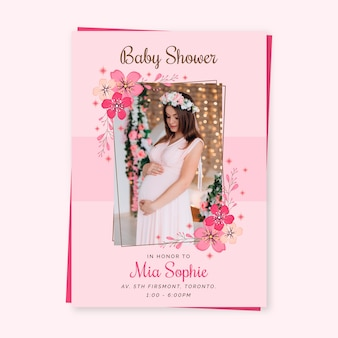 Baby girl shower invitation template celebration
