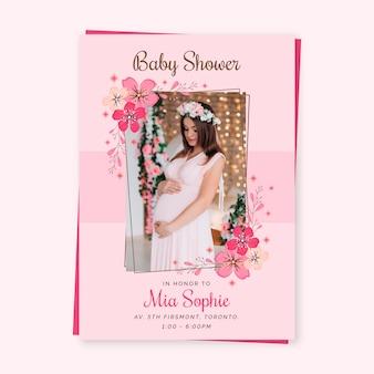 赤ちゃんの女の子のシャワーの招待状のテンプレートのお祝い