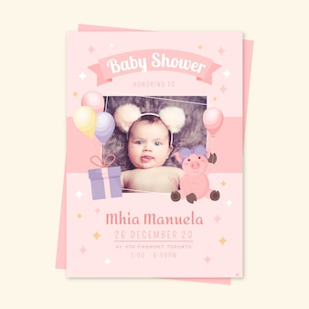 Baby girl shower invitation template event