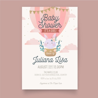 Baby girl shower invitation template
