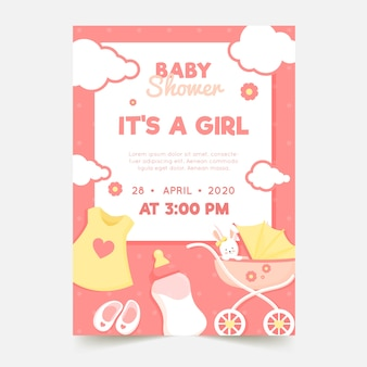 Baby girl shower invitation theme