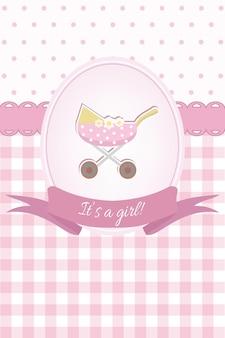 유모차 평면 디자인 아기 소녀 샤워 또는 도착 카드