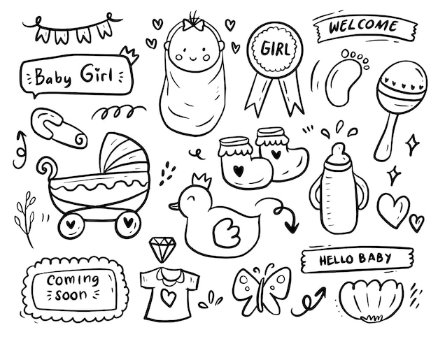Baby girl shower party doodle drawing collection set