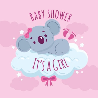 Baby girl shower with koala bear