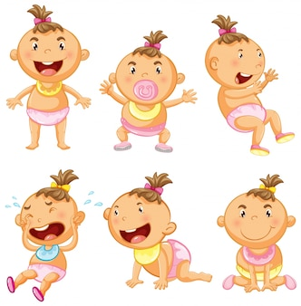 Baby girl in six actions