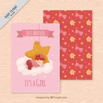 Baby girl sleeping in the clouds card