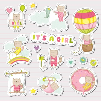 Baby girl stickers for baby shower party celebration. decorative elements for newborn. illustration