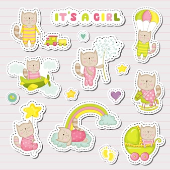 Baby girl stickers, patches for baby shower party celebration. decorative elements for newborn. illustration
