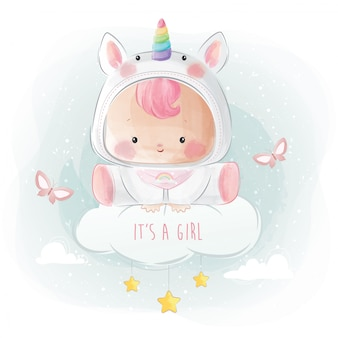Baby girl in unicorn costume