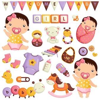Baby girl vector set