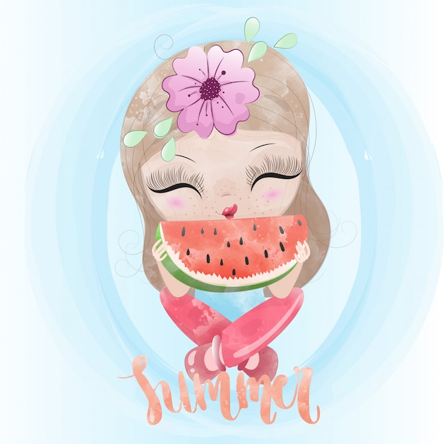 Baby girl and watermelon cute character painted watercolor premium vector