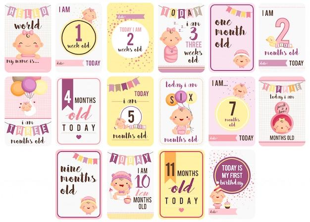 여자 아기 주 및 월 카드