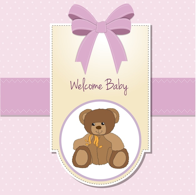 Baby girl welcome card with teddy bear