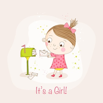 Девочка с почтой открытка на день рождения ребенка