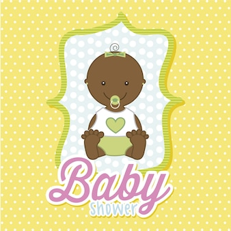 Baby girl over yellow background vector illustration
