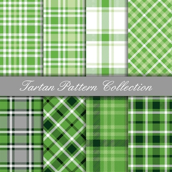 Baby green collection of tartan gingham patterns