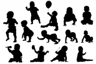 Baby growth and playing silhouette set